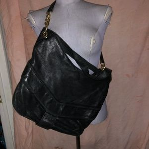 Michael Kors black leather EUC shoulder bag 12x12""